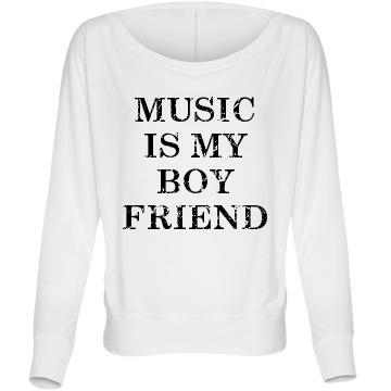 Music Boyfriend Flowy: Custom Bella Flowy Lightweight Long Sleeve Dolman T-Shirt - Customized Girl