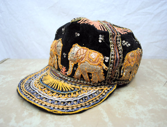 Vintage Embroidered Elephant Ethnic Cap by RogueRetro on Etsy