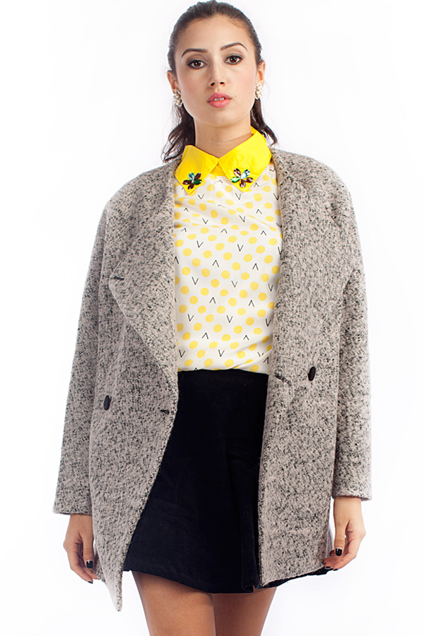 Double-breasted Heather Coat - OASAP.com