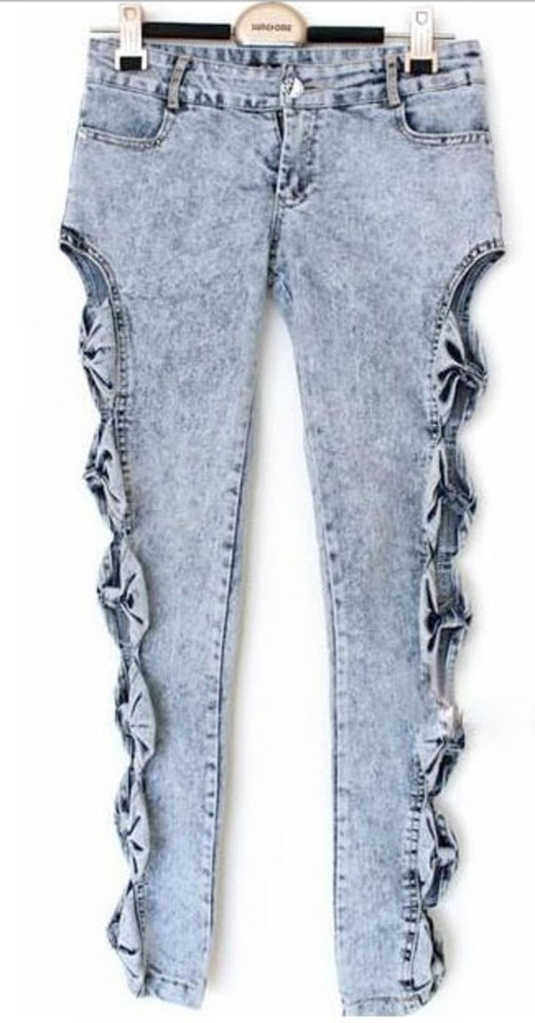 jeans bows open sides high waisted blue jeans