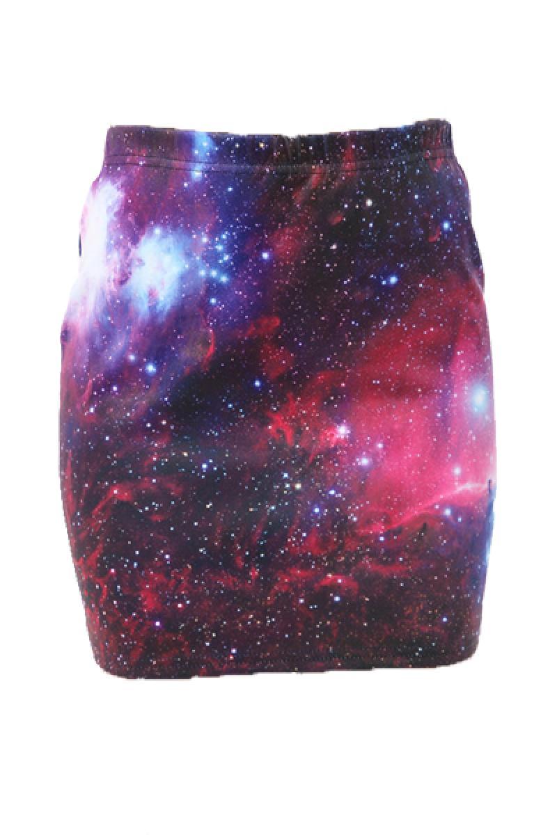 Ladies Galaxy Printed Short Skirt,Cheap in Wendybox.com