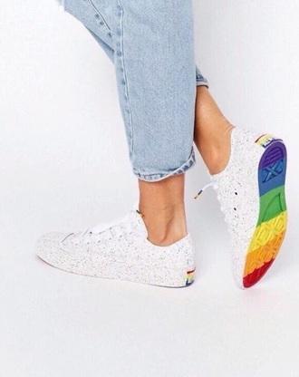 shoes rainbow lgbt converse all star allstars allstar flag white sneakers multicolor