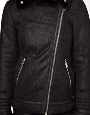 Pull&Bear | Pull&Bear Faux Shearling Biker Jacket at ASOS