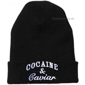 Cocaine and Caviar Beanie Hat Black