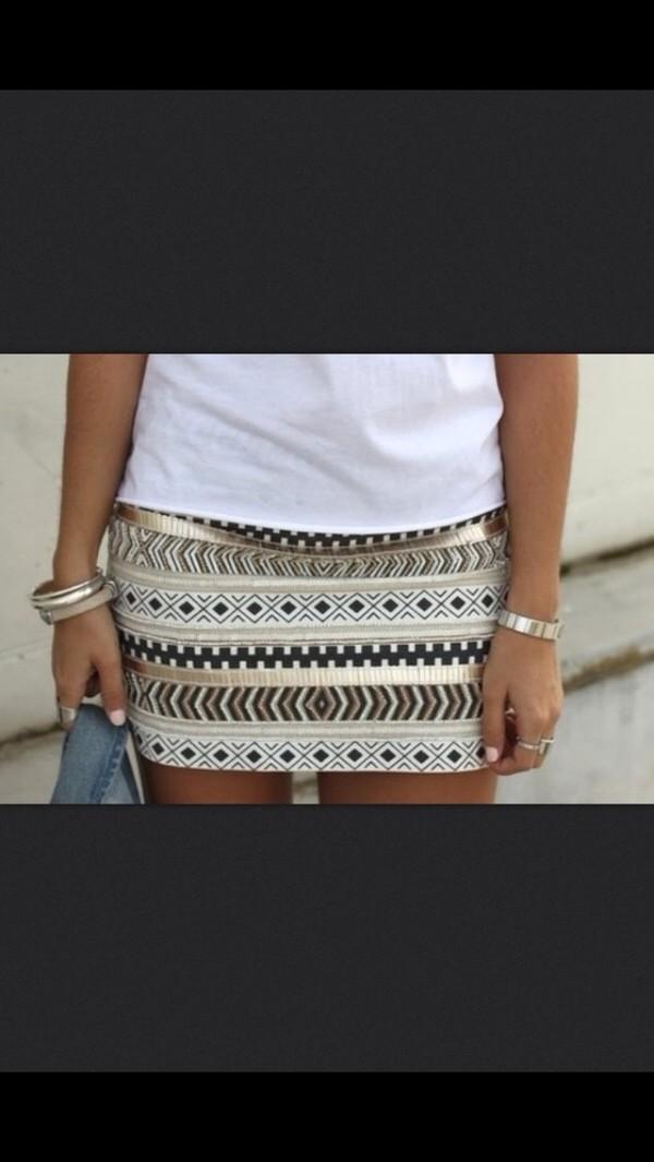 skirt gold black aztec aztec skirt brown skirt