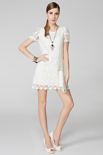 Romantic Short Sleeve Lace Dress [FXBI00417]- US$ 63.99 - PersunMall.com