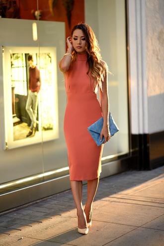 hapa time blogger classy salmon turtleneck dress