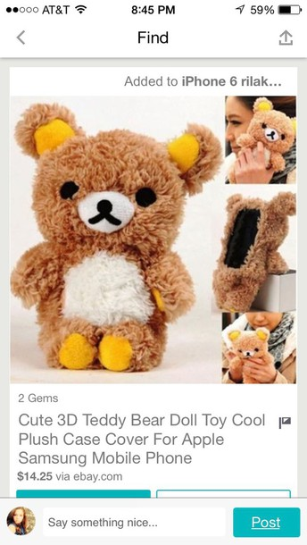 phone cover stuffed animal