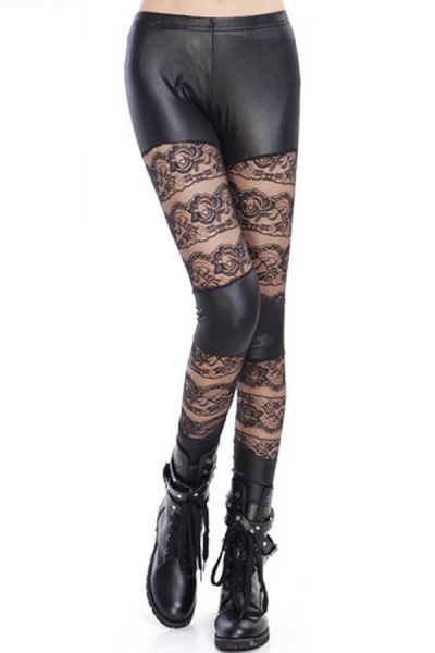 Floral Lace And Leather Paneled Leggings - OASAP.com