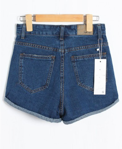 High-Rise Loose Fit Cuffed Denim Shorts - Shorts - Bottoms - Clothing