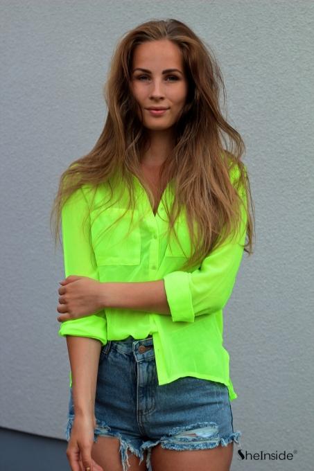 Neon Green Long Sleeve Twin Pockets Front Semi Sheer Blouse - Sheinside.com