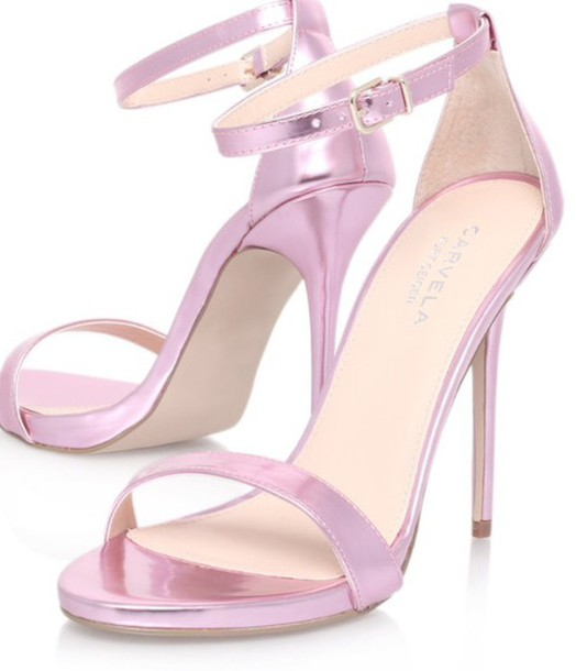Shoes: metallic pink sandals pink heels high heels - Wheretoget