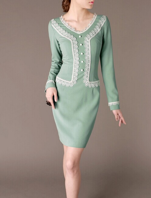 Green Lace V-neck Elegant Noble Summer OL Slim Women Fashion Dress lml7101 - ott-123 - Global Online Shopping for Dresses