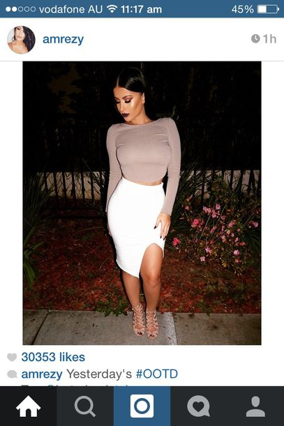 skirt midi skirt white leg slits tight hight waisted long sleve cropped sweater shoes