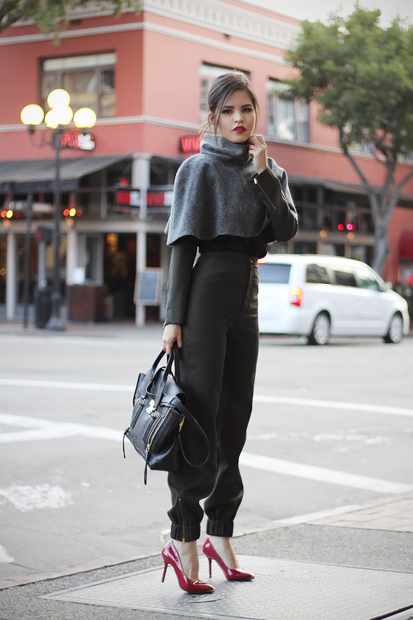 fake leather blouse pants shoes