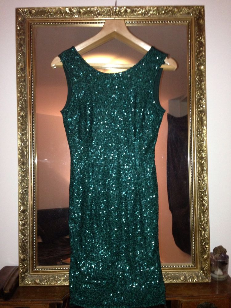 Newlook Sequin Embellished Green Boutique Dress Towie Celeb 10 Allsaints | eBay