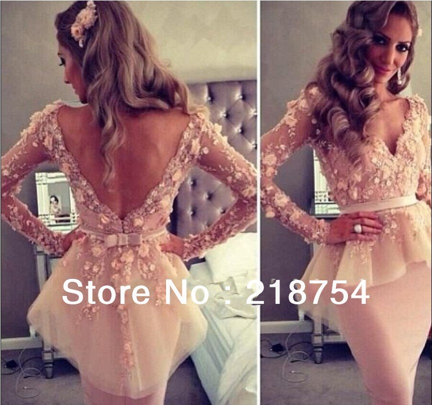 Aliexpress.com : Buy 2013 Kim Kardashian Blush Pink V neck Long Sleeves Lace Flowers Sheath Knee Length Backless Celebrity Evening Dresses Gowns from Reliable dress for work women suppliers on Lhasa Roland_love