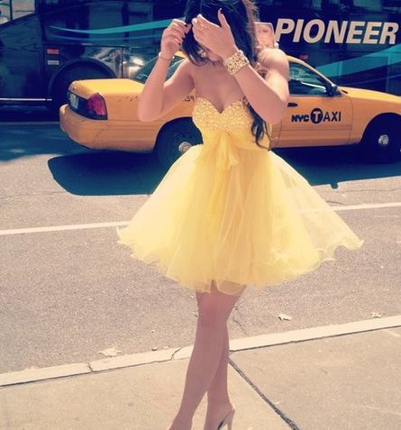 Cute Yellow Mini Sweetheart Ball Gown Prom Dress/Graduation Dress/Homecoming Dresses on Luulla