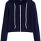 Navy zip up pocket hooded sweatshirt -shein(sheinside)