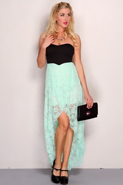 Mint Black Strapless Floral Lace High Low Hem Sexy Party Dress @ Amiclubwear sexy dresses,sexy dress,prom dress,summer dress,spring dress,prom gowns,teens dresses,sexy party wear,women's cocktail dresses,ball dresses,sun dresses,trendy dresses,sweater dre