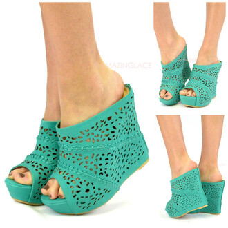 shoes wedges perforated wedges peep toe wedges sea green mint summer spring fashion trendy