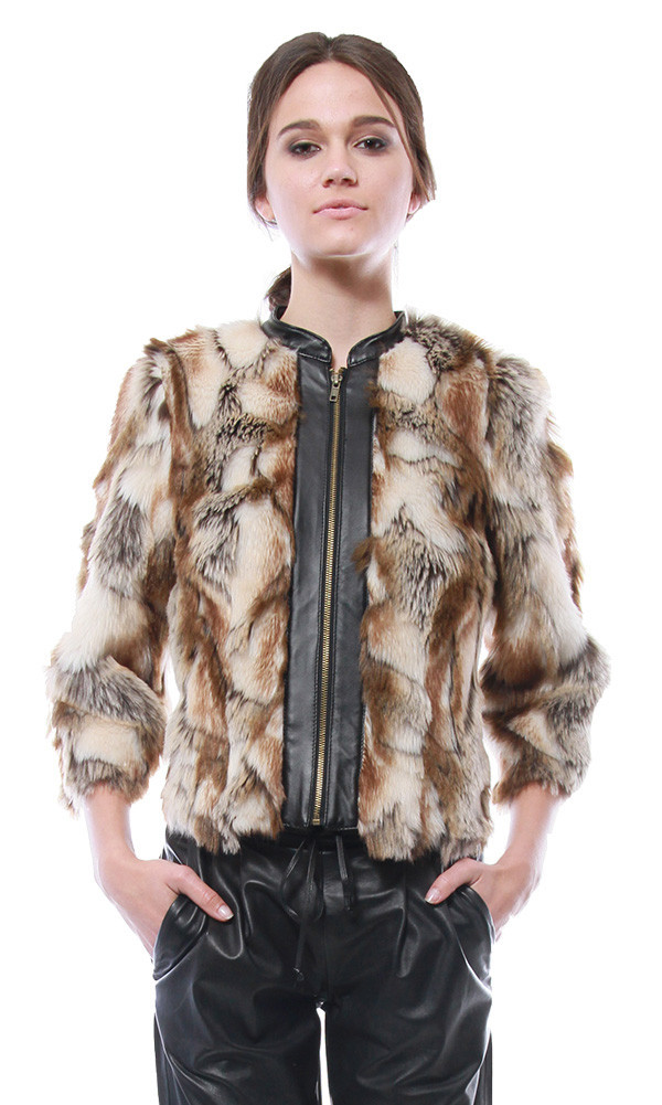 Leather Placket Faux Fur Chubby | Cynthia Vincent