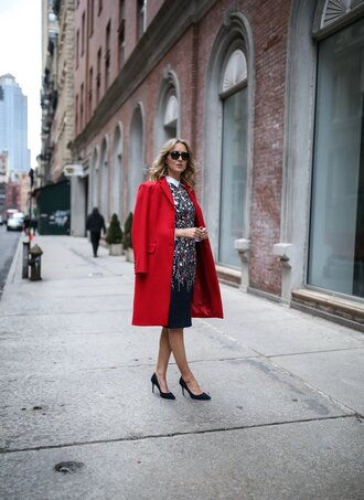 the classy cubicle blogger dress shirt coat shoes sunglasses bag red coat winter sweater high heel pumps