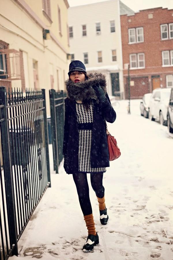 natalie off duty dress coat scarf hat shoes bag