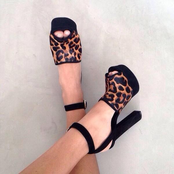 shoes heels leopard print top blouse leopard print high heel sandals block heels leopard print black peep toe platform shoes peep toe leopard print