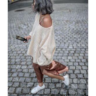 sweater tumblr white sweater dress maxi dress slip dress slit dress sneakers low top sneakers white sneakers off the shoulder sweater heavy knit jumper oversized nude dress fall outfits cute outfits outfit idea silver hair white oversized sweater sweater over dress satin dress satin silk slip dress