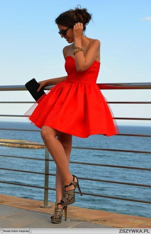 dress red dress shoes toule party dress sweetheart