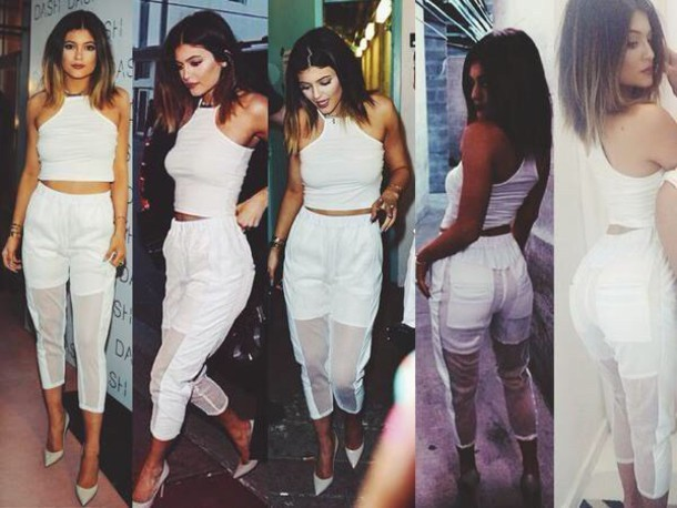 kylie jenner white jeans jeans