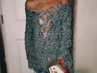 shirt grey sweater white lace lace up