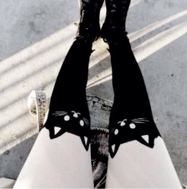 leggings cats cute stockings grunge