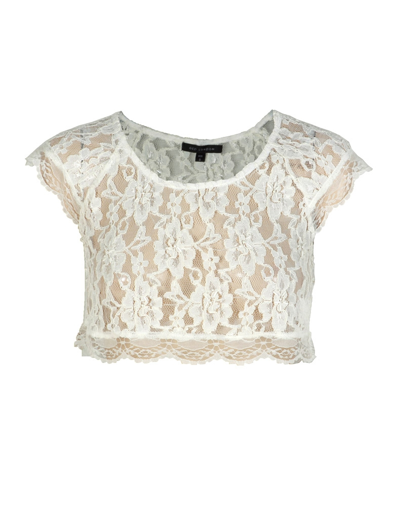 White Short Sleeve Lace Crop Top