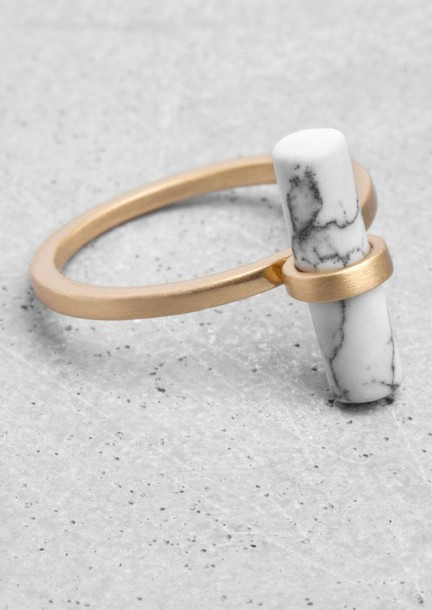 jewels ring & other stories gold marble hipster minimalist jewelry