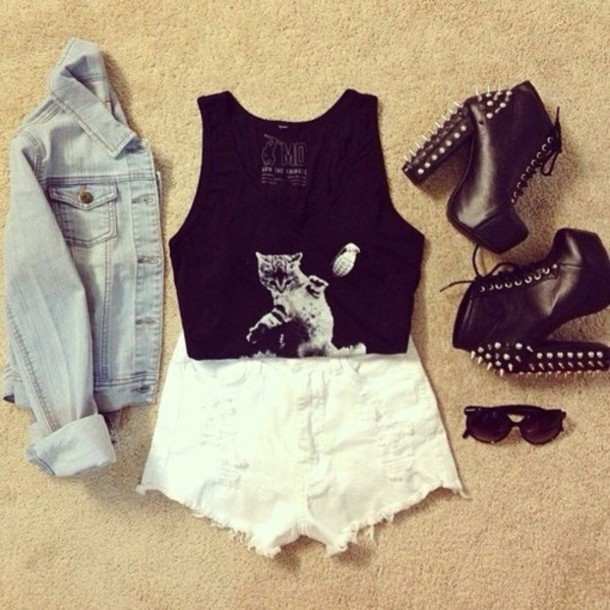 blouse tank top shorts shoes sweater sunglasses