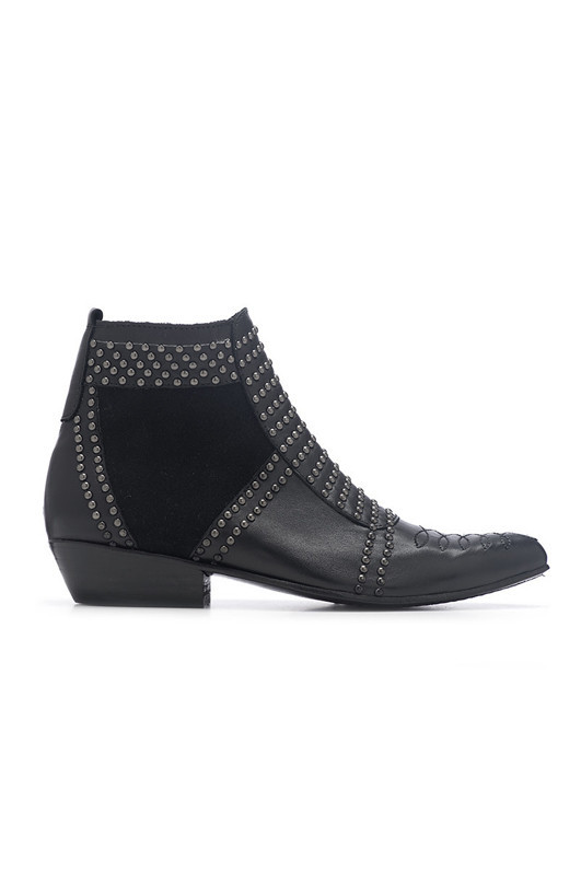 Boots With Silver Studs - [ Boots with silver studs ]  Black leather boots with hand stitch...                 ANINE BING