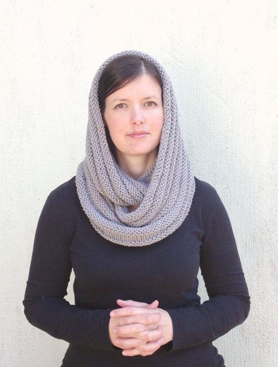 Infinity scarf Grey Knit Scarf Silver Gray Chunky by VeraJayne