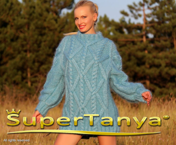 sweater hand made knit mohair cable supertanya angora wool alpaca cashmere soft fluffy fluffy