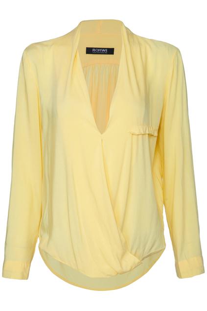ROMWE   Asymmetric Crossed Pocketed Yellow Shirt, The Latest Street Fashion