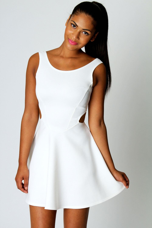 Boohoo Ashley Cut Out Sides Sleeveless Scoop Neck Skater Dress | eBay