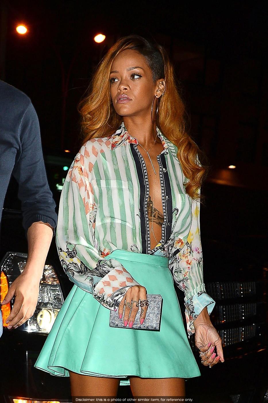 Pleated Faux Leather Mint Aqua Green Mini Skirt Unique Flare Skater Rihanna | eBay
