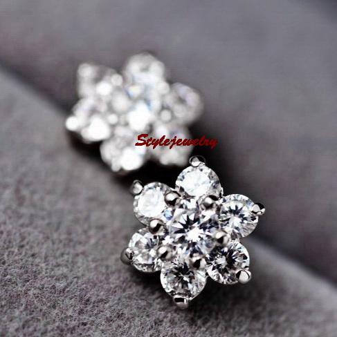 White Gold GF Diamontic Swarovski Crystal Bridal Silver Flower Stud Earring IE22 | eBay