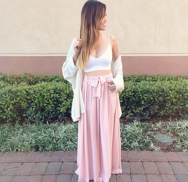 skirt maxi skirt long skirt pink pink skirt light pink flowy cute crop tops cardigan bows bow skirt nude top