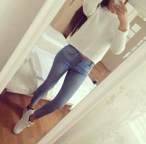sweater white shoes socks jeans