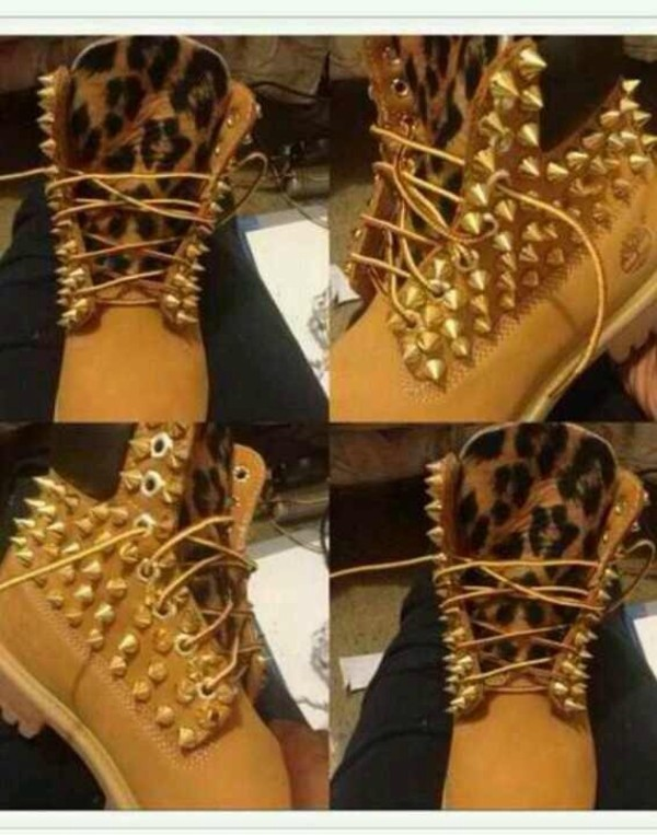 shoes leopard timberlands spike leopard timberland