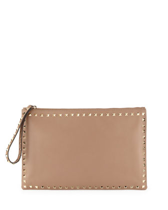 Valentino Rockstud Small Zip Wristlet Clutch Bag, Taupe