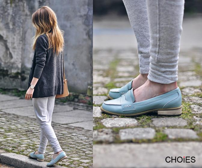 Pastel Green Leather Loafers | Choies