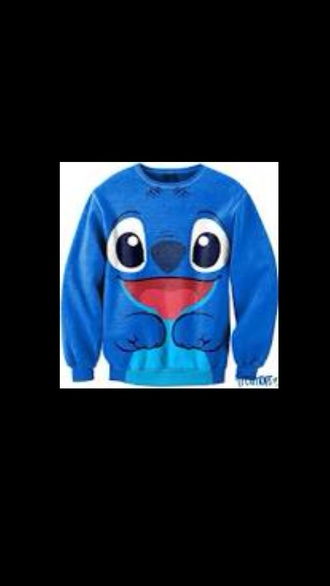 shirt stitch blue freshtops cute face movie cool hoodie pullover lilo and stitch sweater disney